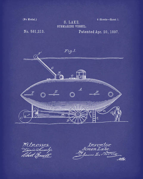 Drawing - Submarine By Lake 1897 Patent Art Blue by Prior Art Design