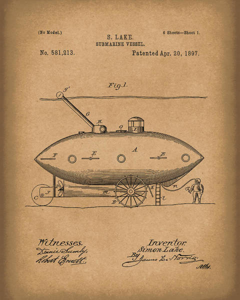 Drawing - Submarine By Lake 1897 Patent Art Brown by Prior Art Design