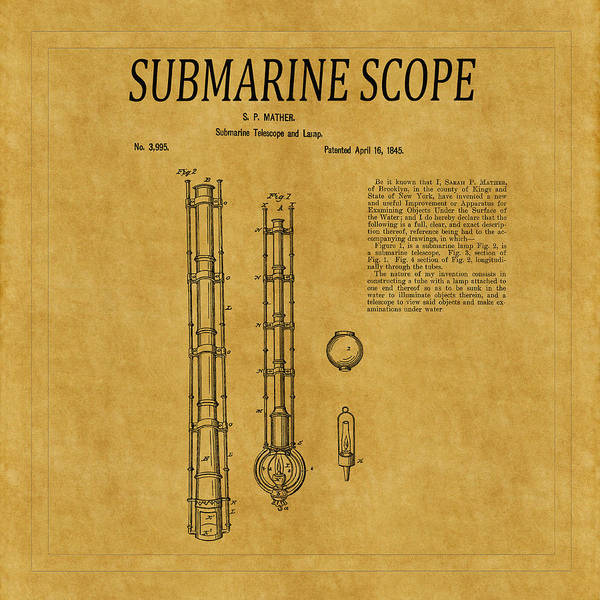 Photograph - Submarine Scope Patent 1 by Andrew Fare