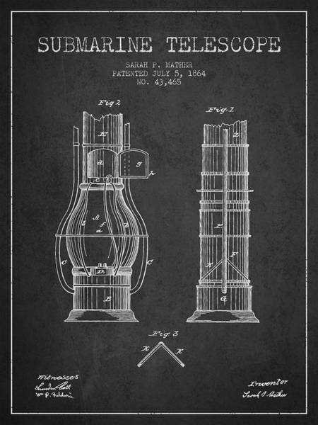 Living Space Wall Art - Digital Art - Submarine Telescope Patent From 1864 - Dark by Aged Pixel