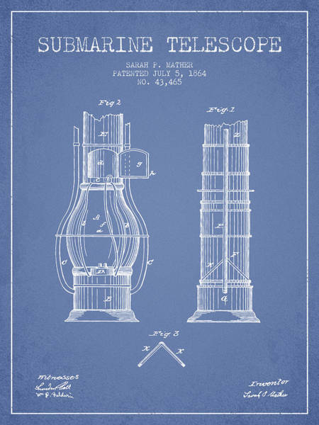 Wall Art - Digital Art - Submarine Telescope Patent From 1864 - Light Blue by Aged Pixel