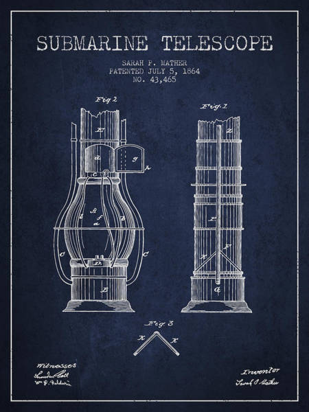 Living Space Wall Art - Digital Art - Submarine Telescope Patent From 1864 - Navy Blue by Aged Pixel