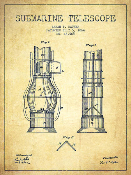 Living Space Wall Art - Digital Art - Submarine Telescope Patent From 1864 - Vintage by Aged Pixel
