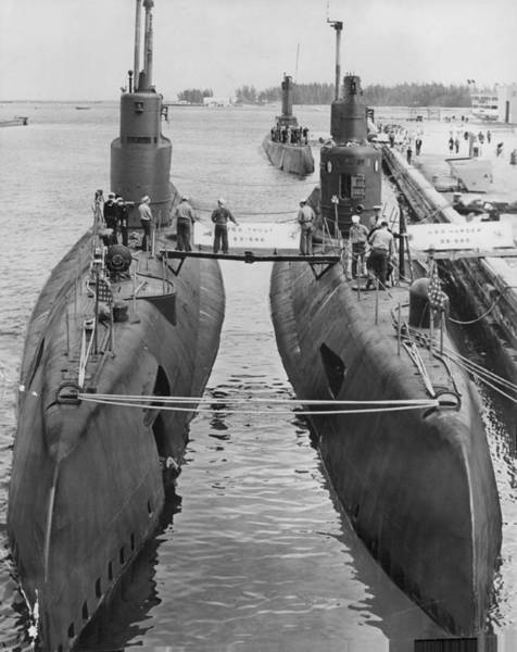Far Away Wall Art - Photograph - Submarines At Port by Retro Images Archive