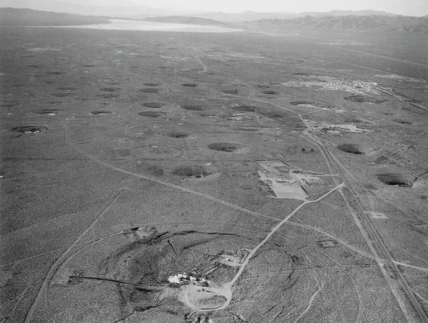 Nuclear Bomb Wall Art - Photograph - Subsidence Craters At Nevada Atom Bomb Test Site by Los Alamos National Laboratory/science Photo Library