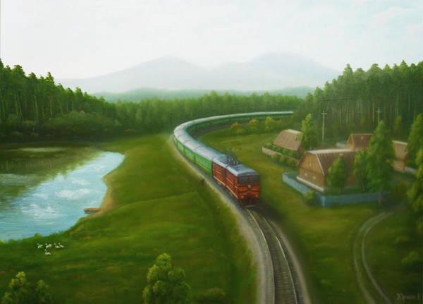 Diesel Trains Painting - Suburban Train by Yurkin Vladimir
