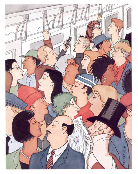 York Digital Art - Subway Riders All Resemble Eustace Tilley by R Sikoryak