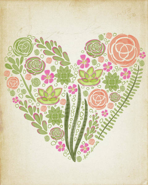 Succulent Wall Art - Painting - Succulent Heart by Katie Doucette