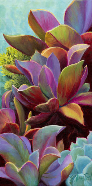 Art Print featuring the painting Succulent Jewels by Sandi Whetzel