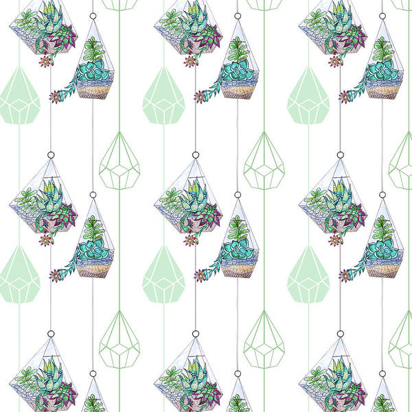 Wall Art - Painting - Succulents And Cacti Terrarium Repeat Pattern by MGL Meiklejohn Graphics Licensing