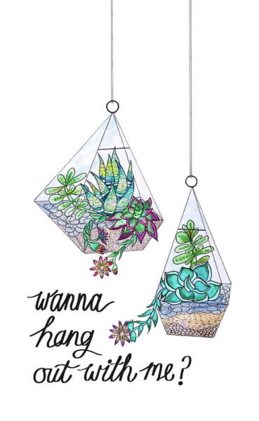 Wall Art - Painting - Succulents And Cacti Terrarium Watercolour Wanna Hang by MGL Meiklejohn Graphics Licensing