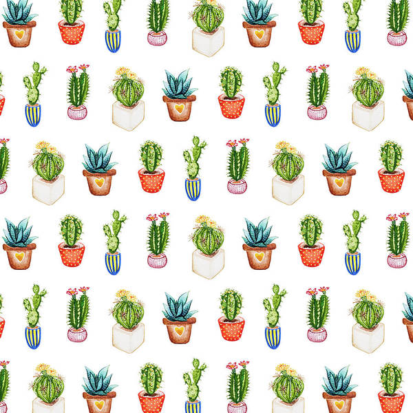 Wall Art - Painting - Succulents And Cacti Watercolour Cacti Repeat by MGL Meiklejohn Graphics Licensing