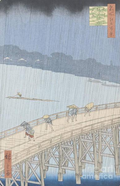 Hundred Wall Art - Painting - Sudden Shower On Ohashi Bridge At Ataka by Ando Hiroshige