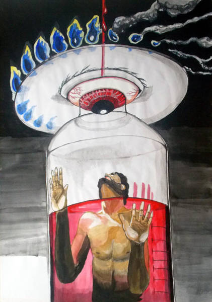Wall Art - Painting - Suffocation Of The Consciousness  Listen With Music Of The Description Box by Lazaro Hurtado