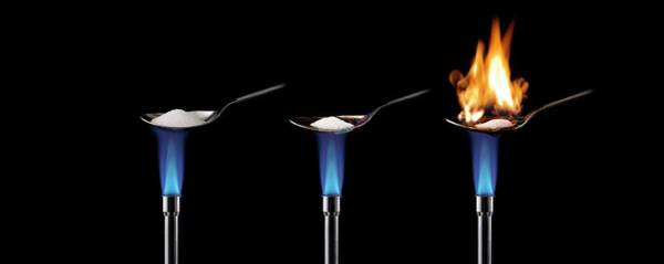 Blue Spoon Photograph - Sugar Burning In Air by Science Photo Library