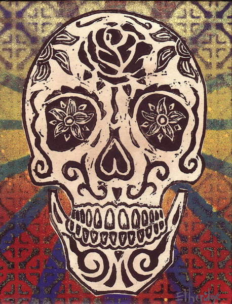 Linoleum Mixed Media - Sugar Skull 4 by William p Etheridge jr