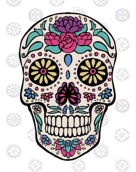 Skulls Wall Art - Painting - Sugar Skull IIi On Gray by Janelle Penner
