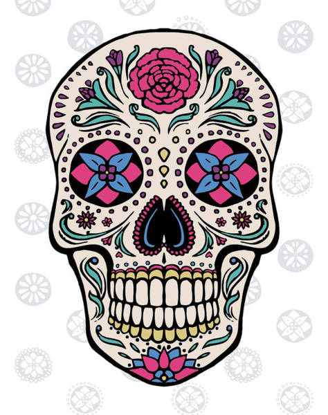 Skull Face Painting - Sugar Skull On Gray by Janelle Penner