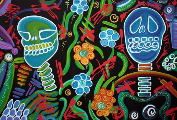 Blacklight Painting - Sugar Skull Spirits 2 by Laura Barbosa