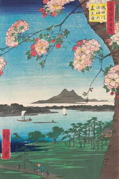 Japanese Shrine Painting - Suijin Shrine And Massaki On The Sumida River by Utagawa Hiroshige