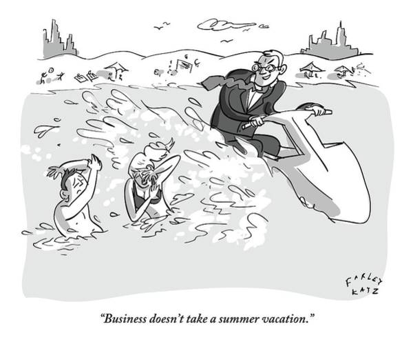 Summer Vacation Drawing - Suited Man Splashes Two Swimmers As He Rides by Farley Katz