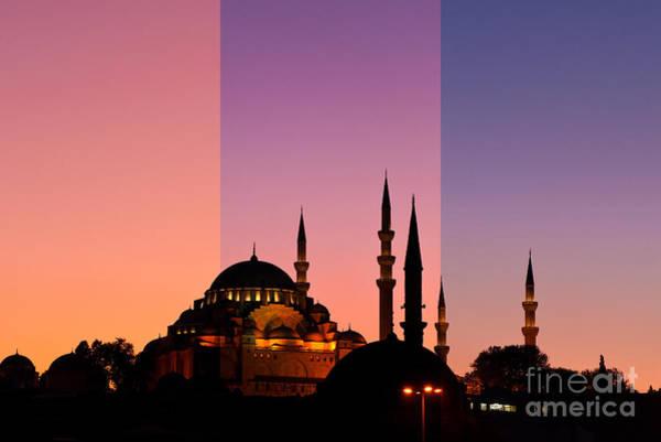 Suleymaniye Mosque Photograph - Suleymaniye Sundown Triptych 05 by Rick Piper Photography