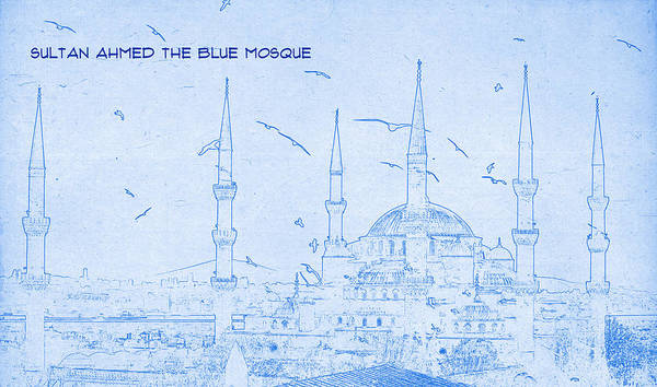 Mosque Digital Art - Sultan Ahmed The Blue Mosque - Blueprint Drawing by MotionAge Designs