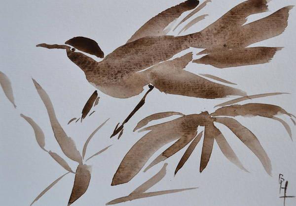 Japanese Poetry Painting - Sumi Bird by Beverley Harper Tinsley
