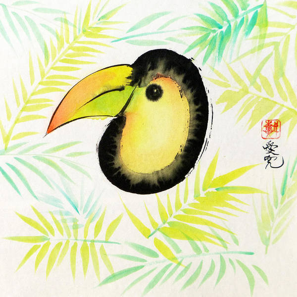 Painting - Sumi-e Toucan by Oiyee At Oystudio
