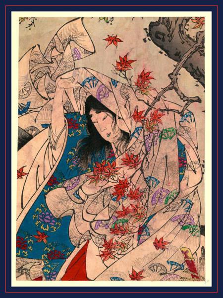 Maple Drawing - Sumiyoshi No Meigetsu by Tsukioka Yoshitoshi, Also Named Taiso Yoshitoshi (1839 ? 1892), Japanese