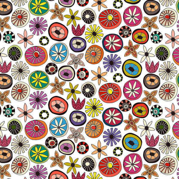 Wall Art - Painting - Summe Flowers Multi by MGL Meiklejohn Graphics Licensing