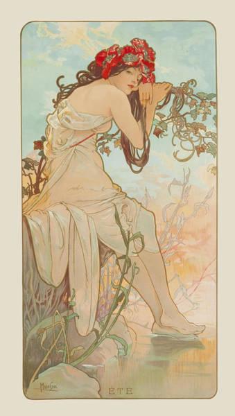 Mucha Painting - Summer by Alphonse Mucha
