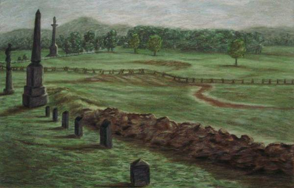 Wall Art - Pastel - Summer At Cemetary Ridge Gettysburg by Joann Renner