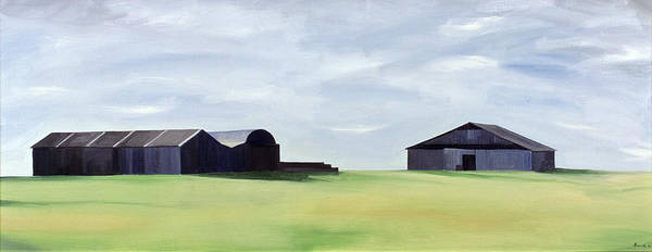 Grey Skies Wall Art - Painting - Summer Barns by Ana Bianchi