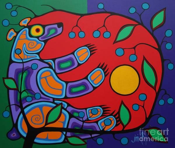 Wall Art - Painting - Summer Bear by Jim Oskineegish
