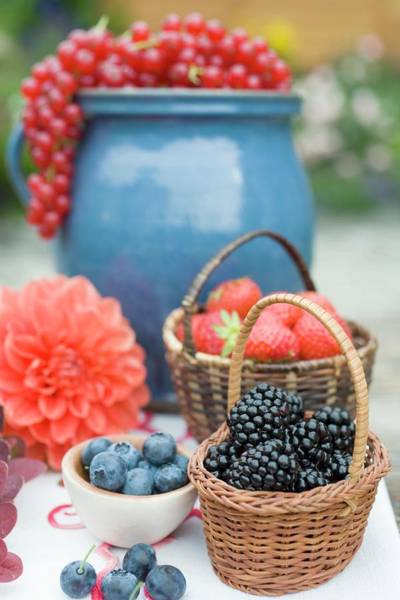 Wall Art - Photograph - Summer Berry Still Life On Table Out Of Doors by Foodcollection