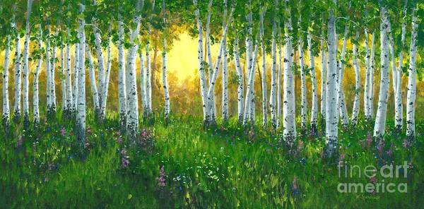 Wall Art - Painting - Summer Birch 24 X 48 by Michael Swanson