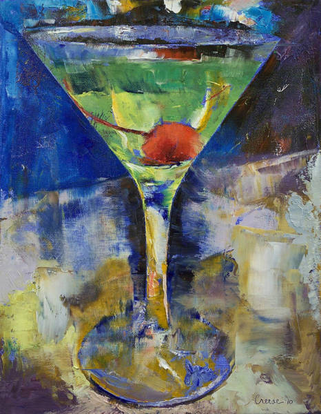 Martini Glasses Painting - Summer Breeze Martini by Michael Creese