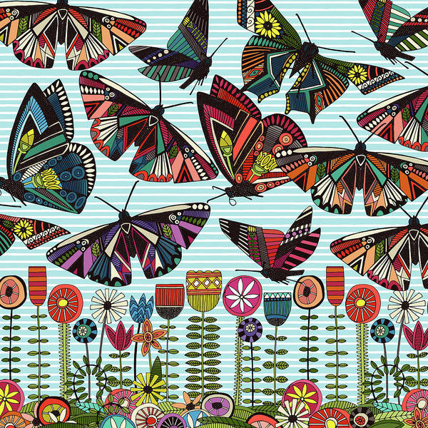 Wall Art - Painting - Summer Butterflies And Flowers Stripe Panel by MGL Meiklejohn Graphics Licensing