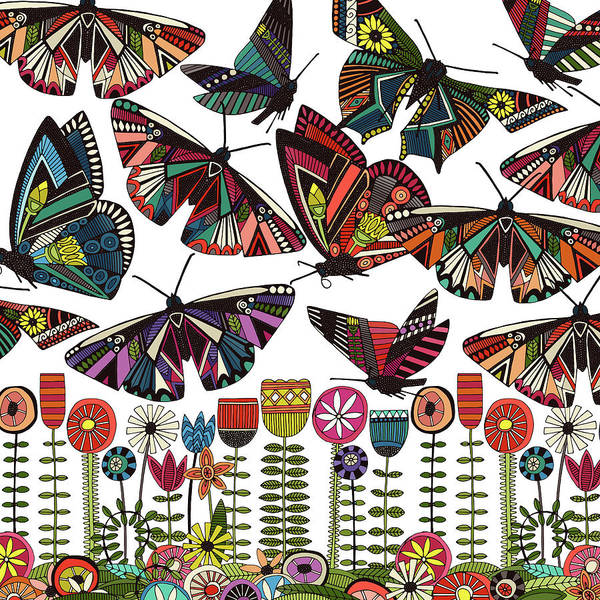 Wall Art - Painting - Summer Butterflies And Flowers White Panel by MGL Meiklejohn Graphics Licensing