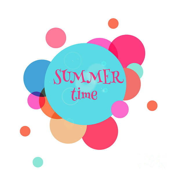 Typographic Wall Art - Digital Art - Summer Colorful Background With Text - by Vector art
