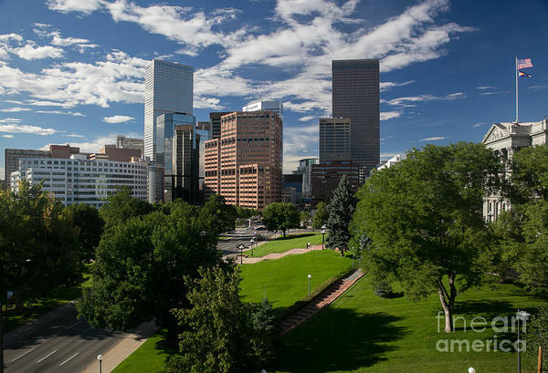 Mile High City Photograph - Summer Downtown Denver Skyline With Blue Sky by Bridget Calip