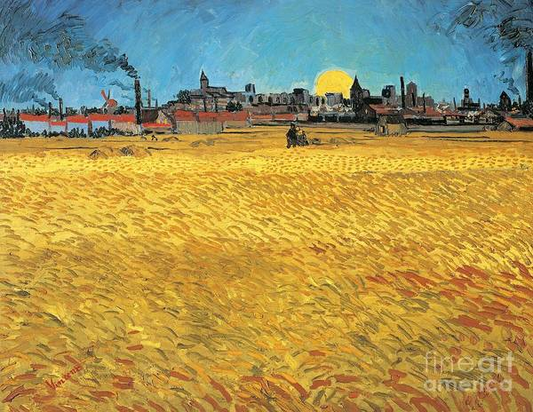 Barley Painting - Summer Evening Wheat Field At Sunset by Vincent van Gogh