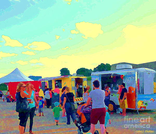 Painting - Summer Family Fun Paintings Of Food Truck Art Roadside Eateries Dad Mom And Little Boy Cspandau by Carole Spandau