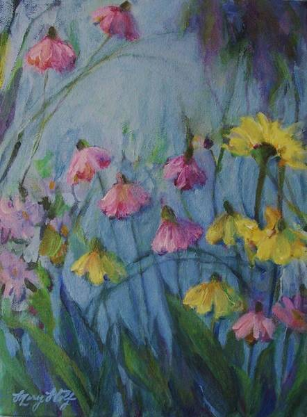 Painting - Summer Flower Garden by Mary Wolf