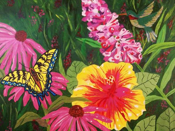 Hibiscus Flower Painting - Summer Garden by Ellen Levinson