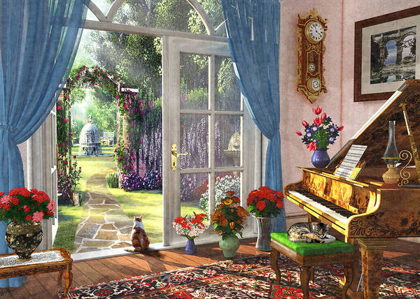 Wall Art - Painting - Summer Garden View by MGL Meiklejohn Graphics Licensing
