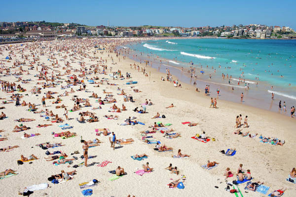 Bikini Photograph - Summer Holiday Crowds On Bondi Beach by Oliver Strewe