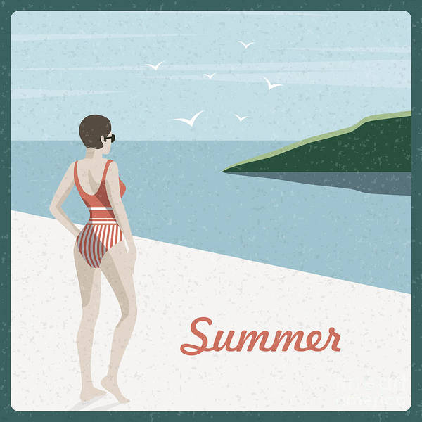 Beautiful Woman Wall Art - Digital Art - Summer Holidays Retro Poster Woman The by Antartstock