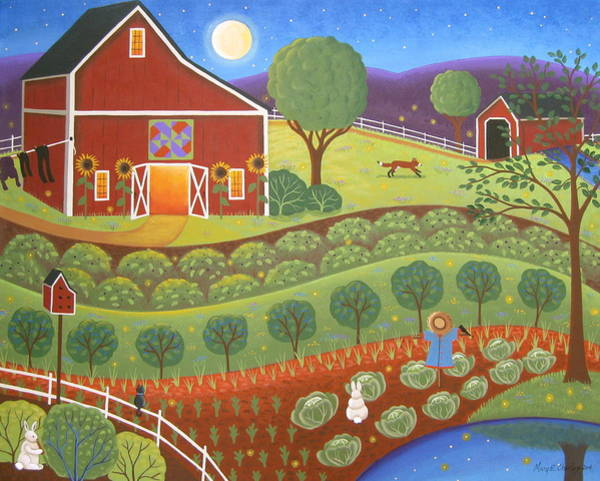 Red Moon Painting - Summer Magic by Mary Charles